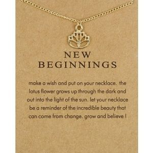 Jewelry - 5 for $25 New Beginnings Gold Color Lotus Necklace